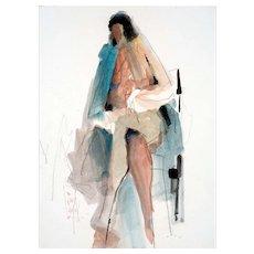 Vintage Watercolor Seated Nude by California Artist Jack Laycox