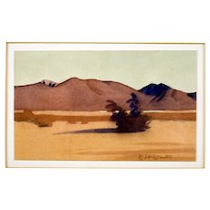 "Vintage Lori Slater Watercolor ""Red Mountain"""