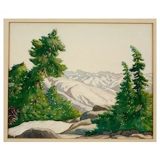 Albert Moran Alpine Landscape Watercolor, Arts and Crafts Era