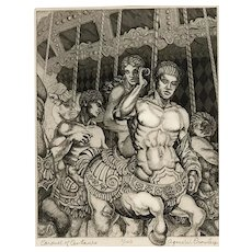 "Agnes W. Crowley Original Etching  ""Carousel of Centaurs"""