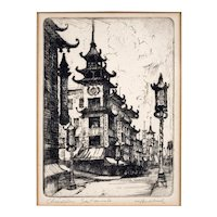 "Harriet Gene Roudebush Etching ""Chinatown, San Francisco"" California College of Arts and Crafts Artist"