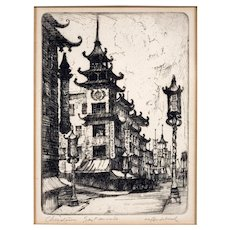"""Harriet Gene Roudebush Etching """"Chinatown, San Francisco"""" California College of Arts and Crafts Artist"""