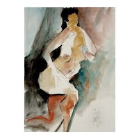 Original Watercolor Nude by Jack Laycox, Listed Artist