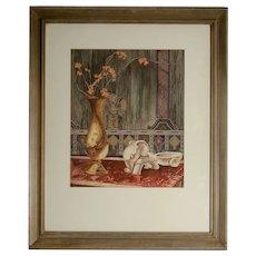 Original Arts and Crafts Art Deco Watercolor, Thomas E. Rooney, 1936