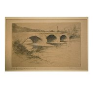 "C. Dickens early 20th century etching  ""USK Bridge Monmouth"""