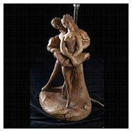 Early 20th Century Ceramic Dancers Lamp