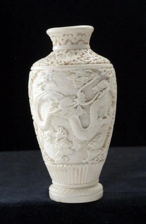 Early 20th Century Lacquer Chinese Carved Vase Sold Ruby Lane