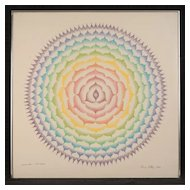 Original Vintage Rowena Pattee Kryder Pastel:  Mandala Phase II 360 Matrix Cycles (c.1979)