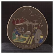Mid-Century Arol Halden Wall Plaque Plate, Norway