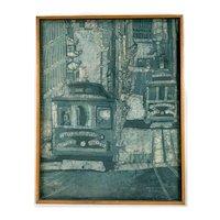 "Carol Takaki (b. 1941) Modernist Batik Painting ""Cable, Calif Street"" (c.1960's)"