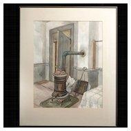 Mid-Century Watercolor  by Kay Works (1904-1998), WPA Artist