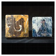Vintage Scott Chatenever Painted Ceramic Wall Plaques