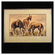 Vintage Bay Area Figurative Watercolor, Equestrian Study