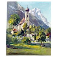 20th Century  European Tyrollean Church Tempera Painting