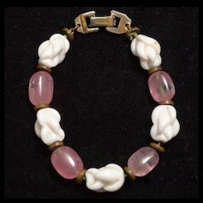 Vintage 1940's-50's Barcaly Milk and Rose Glass Bracelet