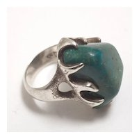 Mid-Century Sterling and Chrysocolla Ring