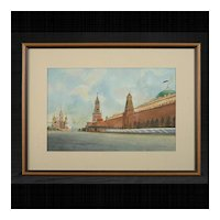 Soviet Era Red Square Kremlin Watercolor