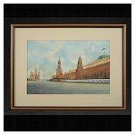 Soviet Era Red Square Kremlin Watercolor