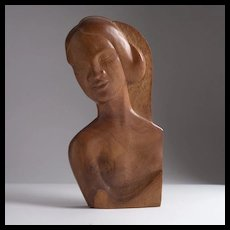 Fabulous Mid-Century Signed Carved Wood Plaque, Circa 1954