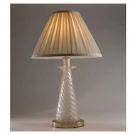 Vintage 1960's Murano Crackled Glass Table Lamp