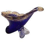 Murano Blue and Gold Inclusion Cornucopia Horn Art Glass Footed Vase