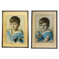 Pair of Pastel Child Portraits, American School, circa 1926