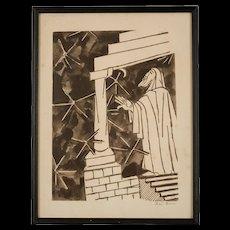 """Mid Century Etching by Ben Zion, """"Prophet"""""""