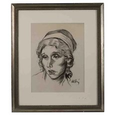 American School (20th century), Portrait of a Woman, Charcoal and Ink Drawing