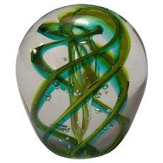 Vintage Art Glass Paperweight signed Robert L. Hamon