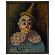 Clown Portrait by Ritter, circa 1960's