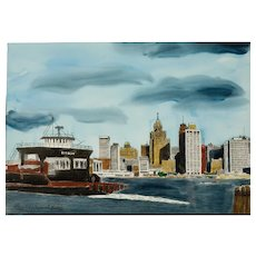 """William A. Bostick Lithgraph """"The Detroit Skyline from Windsor"""""""