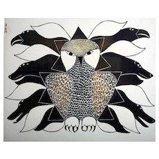 Kenojuak Ashevak (1927-2013) Vintage Lithographic Calendar Print (circa 1970's)