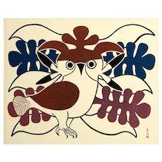 Kenojuak Ashevak (1927-2013) Vintage Lithographic Calendar Print, Circa 1970's
