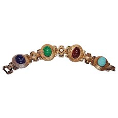 Egyptian Revival Book Chain Scarab Bracelet