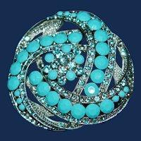 Vintage Turquoise Colored Bakelite and Rhinestone Brooch / Pendant
