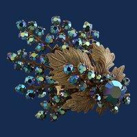 Unsigned Gold Tone Oak Leaf & Peacock Blue Brooch