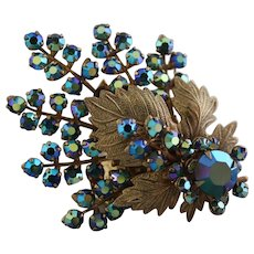Unsigned Gold Tone Oak Leaf & Peacock Blue Brooch