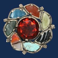 """Vintage Signed """"Miracle"""" Victorian """"Style"""" Scottish Agate Brooch"""