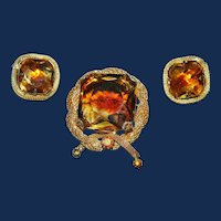 Vintage Amber Colored Dentelles & Mesh Brooch and Earrings Set
