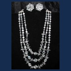 """Vintage, """"Unsigned"""" Vendome, 3 Strand AB Rhinestone, Necklace and Earrings"""