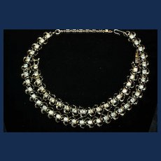 Vintage Coro Gold-Toned with Clear Rhinestones Bracelet and Necklace