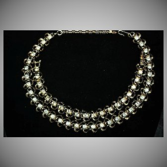 Vintage Coro Gold-Tone with Clear Rhinestones Bracelet and Necklace