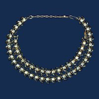 """Signed """"Coro"""" Demi-Parure Necklace and Bracelet, Gold Toned with Clear Rhinestones"""