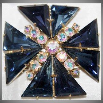 Vintage Juliana Maltese Cross Brooch/Pendant