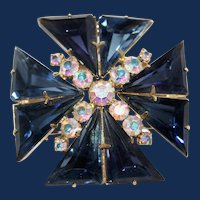 Vintage Indigo Blue Maltese Cross Brooch/Pendant