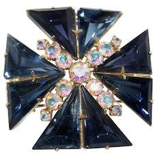 Vintage Indigo Blue Maltese Cross Brooch/Pendant