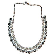 1950's Style Fringed Necklace with Light Blue AB Rhinestones Silver Toned Settings.