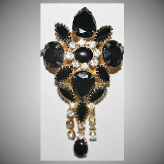 Vintage Juliana Brooch Pendant Black Rhinestones, Clear Rhinestone, 3 tassels all set in Gold Tone Settings.