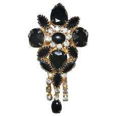 Vintage Unsigned Black and Clear Rhinestone Dangle Brooch / Pendant