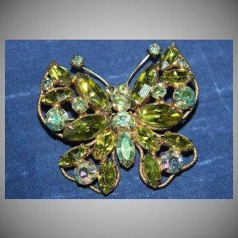 Vintage Regency Butterfly Brooch with Sea Foam Green Marquise and AB blue green Rhinestones in Gold Tone Settings